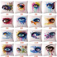Wholesale square pillow shams for sale - Group buy 45 CM Pillow Cases Colorful Big Eye Linen Pillow Cover Square Pillow Case Shams Comfortable Home Decorative Cushion Cover Color WX9