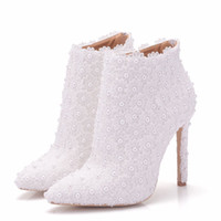 Wholesale white flower bridal shoes - New pointed toe shoes for women white pearls heels wedding shoes thin heel fashion boots lace flowers Plus Size Bridal martin boots