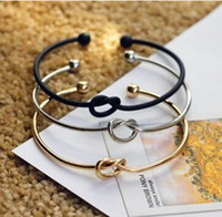 Wholesale knot bracelets silver - Fashion Original Design Simple Copper Casting Knot Love Bracelet Open Cuff Bangle Gift For Women free shipping
