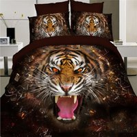 Wholesale tiger print sheets - Wholesale- Home Textiles,roaring tiger style 3D bedding sets 4Pcs of Queen size duvet quilt cover bed sheet pillowcase