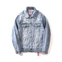 açık mavi denim kot pantolon toptan satış-MORUANCLE Moda Mens Merhaba Sokak Yırtık Kot Ceket Yıkanmış Boy Sıkıntılı Kot Ceketler Kabanlar Delikler Ile Açık Mavi