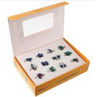 anillo de humor animal al por mayor-Los niños regalos de Navidad mezclan animales de dibujos animados 12 unids anillos de humor mariposa, sonrisa, corazón, paz paloma anillos de moda joyas incluyendo caja