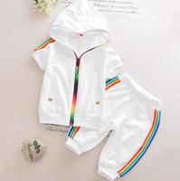 erkek çocuk yazlık giysiler toptan satış-Çocuk Yaz Pamuk Konfeksiyon Bebek Erkek Kız Şeker renkli Fermuar Hoodies Kısa 2 Adet / takım Çocuklar Kısa Kollu Twinsets Eşofman
