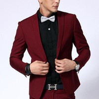 Wholesale White Tuxedo Evening Wedding Groom - Two Piece Dark Red Evening Party Men Suits 2018 Peaked Lapel Blazer Trim Fit Custom Made Wedding Groom Tuxedos Jacket Pants