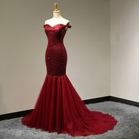 Wholesale robes longue sexy for sale - Burgundy Real Imag Prom Dress Long Sequin Mermaid Modern Long Formal Gowns Robe de Soiree Longue Customized Maxi Gown Sheath Dress