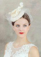 chapéu cinza cetim venda por atacado-New hot hand cânhamo chapéu cocar flores vestido de noiva véu noiva acessórios de jóias
