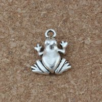 Wholesale diy online - Frog Charms Pendants Hot sell Antique Silver Jewelry DIY x17mm