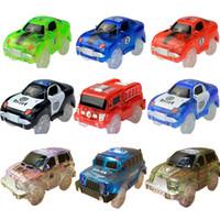 Wholesale rail car tracking for sale - 5 cm Magic Diecasts Electronics LED Car Toys Flashing Lights Kids Birthday Gift Tracks Boys Girls Educational Toys Rail Car