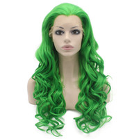 "Wholesale Lace Front Heat Friendly Wigs - 26"" Long #T6138 Green Heavy Density Heat Friendly Fiber Front Lace Synthetic Hair Party Wig"