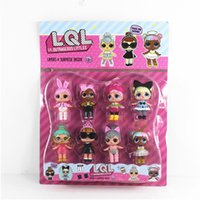 Wholesale Funny Baby Girl - 8pcs set LOL Resin Funny Baby Doll Action Figure Toys Dress Up Baby Dolls Gift For Girls Birthday Party