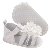 детские сандалии для новорожденных оптовых-Flowers Sandals for Girls Newborn Baby Shoes Summer Flowers Cute Baby Girl Sandals Fashion Breathable Soft Beach