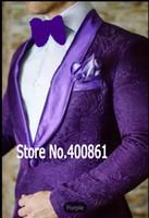ingrosso il migliore vestito cravatta viola-Alta qualità Viola Paisley Mens Suits Smoking Dello Sposo Groomsmen Wedding Party Dinner Best Man Suits (Jacket + Pants + Tie) K: 2385