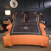 juegos de edredón marrón reina al por mayor-800Tc juego de cama de algodón egipcio tamaño queen edredón de lujo cubierta bordado king size juego de sábanas de cama textil naranja marrón