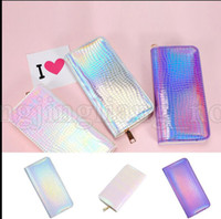 Wholesale Leather Backpack Camping - Holographic Long Wallet Shining PU Leather Zipper Wallets Laser Hologram Gradient Color Mermaid Clutch Purses Cell Phone Bag KKA5334