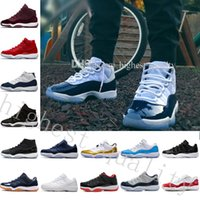 Wholesale Tall Canvas Shoes - 2018 high quality basketball shoes for free transport of new color 11 midnight navy men and women's tall sports shoes US 5.5-13 Eur 36-47