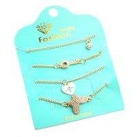 pulsera de cadena de diamantes de imitación al por mayor-4 unids Crystal Butterfly Key Heart Bracelet Set Mujeres Pulseras de los encantos con Rhinestone 2018 Playa Cadena de joyería Z786