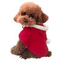 welpen pullover hut großhandel-Weihnachtsfeier Kleidung Geschenk Welpen Kostüm Hund Schal Mantel Katze Weihnachtsmann Kleidung Pullover mit Hut Haustier Zubehör