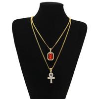 herren-hip-hop-kreuz halskette großhandel-Hip Hop Schmuck Ägyptische große Ankh Key Anhänger Halsketten Sets Mini Quadrat Ruby Sapphire mit Kreuz Charme kubanischen Link für Herrenmode