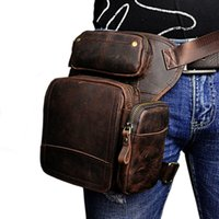 Wholesale black drop leg bag - Men's Waist Thigh Drop Leg Bag oil wax Genuine Leather Messenger Shoulder Bag Travel Motorcycle Riding Fanny Pack