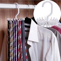 Wholesale rotating clothes rack online - Wholesales quot Plastic Colors Tie Rack Closets Rotating Hook Holder Belts Scarves Hanger Clothing Organizer