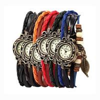 relógios trançados venda por atacado-Folha de moda Retro pulseira De Couro Pulseira Relógio Encantos Jóias Infinito Pulseiras Relógio de Pulso Chirstimas Aniversário Presente Do Dia De Ação De Graças