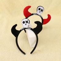 pirata de fita vermelha venda por atacado-2018 Vermelho Preto Pirata Diabo Chifre Headband Crianças Faixa de Cabelo Headwear Halloween Adereços de Desempenho Favores Do Partido