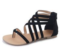 ingrosso i sandali di modo attraversano-Sandali Donna Fashion Gladiator Des Sandales Per Donna Scarpe Estive Sandali Piatti Donna Stile Roma Cross Tied Sandals Shoes Girl 43