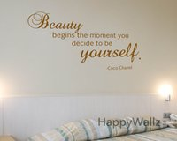Wholesale Motivational Wall - Motivational Quote Wall Sticker Beauty Begins The Moment You Decide Be Yourself Inspirational Quote Wall Decal Custom Colors