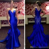 Wholesale crystal home button - 2018 Royal Blue Lace Prom Dresses Formal Sexy V-cut Neck Backless Fitted Mermaid Floor Length Elegant Home Party Dresses Evening Gowns