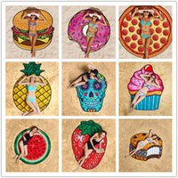 Wholesale Baby Blanket Towels - Round Polyester Beach Shower Towel Blanket Yoga Towel Skull Ice Cream Strawberry Smiley Emoji Pineapple Pie Watermelon Towel YYA1155