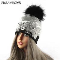Wholesale Mink Fur Hats Women - Mink Raccoon Fur Pompom Ball Beanie Hats Women Russian Fur Cap Knit Crochet Flower Hat With Diamond