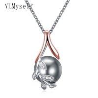 roségold perle anhänger halskette großhandel-Dropshipping Charms Anhänger Roségold Platte ebnen graue Perle Kubikzircon Kristall Schmuck Anhänger Halskette für Frauen