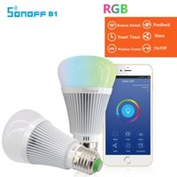 Wholesale Wifi Dimmer - Original Sonoff B1 Led Bulb Dimmer Wifi Smart Light Bulbs Remote Control Wifi Light Switch Led Color Changing Light Bulb Works With Alexa 2P