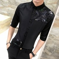 Wholesale men slim work shirts - Personality Lace Patchwork Tuxedo Shirt Men 2018 Summer Slim Fit Half Sleeve Dress Shirts Mens Casual Hairstylist Work Shirt Man