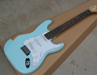 Wholesale sky blue guitar - Factory Custom Sky-blue Vintage Body Electric Guitar with SSS Pickups,White Pickguard,Rosewood Fretboard,Offer Cutmomized
