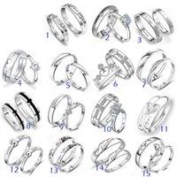 mélanger des ensembles d'argent joaillier achat en gros de-Anneaux de bijoux en argent sterling 925 DIAMANT ENGAGEMENT RING BANDE DE MARIAGE Bague Couple SET Mix 15Style