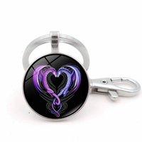 metal kalp şeklinde kolye toptan satış-Aşk Kalp Şekilli Dragons Desen Cam Cabochon Kolye Anahtarlık Takı Aksesuarları Gümüş Metal Anahtarlık Halkası Anahtar Tutucu