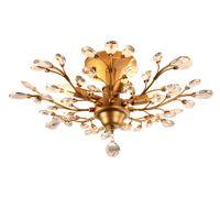 Wholesale Crystal Art Deco Ceiling Lights - American village led crystal chandelier light fixtures 4 heads iron crystal ceiling lights indoor chandeliers lamp black bronze