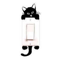 ingrosso arte per la stanza dei bambini-FAI DA TE Divertente Cute Cat Wall Stickers Interruttore della luce Decalcomanie Decor Art Mural Baby Nursery Room decorazione Camera da letto decorazione del salone