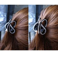 Wholesale acrylic hair claw clip - Flying Butterfly Hair Accessories Hair Claw Clip for Women Rhinestone Clasp Girls Hair Clamp Nice Hairpins Black Brown HC3166