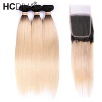 insan saçı üç parçalı kapanır toptan satış-Brezilyalı Bakire Düz Saç Kapatma ile 1B 613 Ombre Sarışın Demetleri Remy İnsan Saç Paketler Örgü ile Kapatma Ücretsiz Orta Üç bölüm