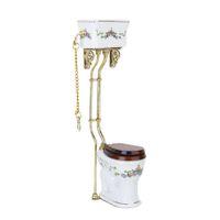 Wholesale Vintage Toilets - Vintage Victorian style bathroom porcelain toilet doll house miniature white + gold