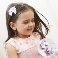 ingrosso stelle dei capelli accessori-New Fashion Girls Hair Clips Forcine per bambini Cute Felt Glitter Stars Unicorn Barrettes Bambini Bambini Accessori per capelli