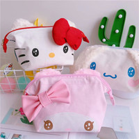 bolsa de maquillaje kawaii al por mayor-Kawaii Hello Kitty My Melody Cinnamoroll Canvas Cosmético Maquillaje Maleta de viaje Organizador de viaje Bolsa de aseo Bolsa de lavado