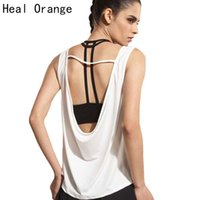 Wholesale womens orange tank top - HEAL ORANGE Womens Sport Shirts Yoga Tops Sleeveless Vest Fitness Running Clothes for Female Breathable Tank Tops Running Vest