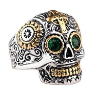 Wholesale hand carved crosses - European and American retro men's cross skull ring carved ring electric explosion models ghost head hand imitation stainless steel titanium
