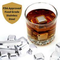 frei fließende flaschenpourer großhandel-Whiskey Steel Ice Cubes, 8er Set mit Zangen Whisky Stones Chilling Rocks Halten Sie Ihr Getränk länger kalt
