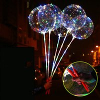 Wholesale latex balloon accessories resale online - LED Luminous LED Bobo Balloon Flashing Light Up Transparent Balloons String Light with Hand Grip For Christmas Party Festival Decoration Hot