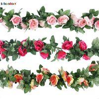 ingrosso ghirlanda di nozze verde artificiale-2.3m fiore artificiale Vine finto fiore di seta rosa edera con foglie verdi per la decorazione domestica di nozze Hanging Garland Home Decor