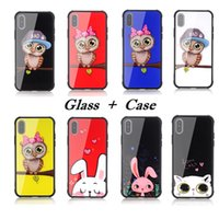 Wholesale Owl Back - 2018 Fashion Owls Cartoon Rabbits Cats Glass Phone Cases for iPhone X 6 7 8 Soft TPU Edge Shockproof Tempered Glass Back Cover